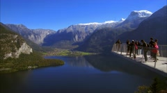 Mountain landscape and Skywalk viewpoint over Lake Hallstatt in Austria Stock Footage