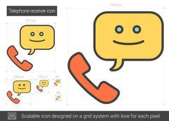 Telephone receiver line icon Stock Illustration