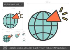 Global network line icon Stock Illustration