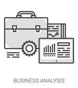 Business analysis line infographic Stock Illustration