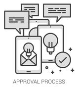 Approval process line infographic Stock Illustration