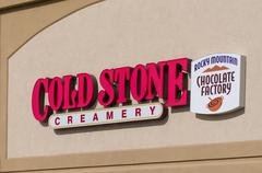 Cold Stone Creamery and Rocky Mountain Chocolate Factory Sign and Logo Stock Photos