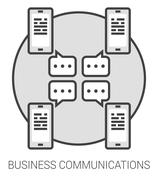 Business communications line infographic Stock Illustration