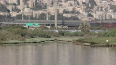 Kishon River and Mount Carmel Israel Stock Footage
