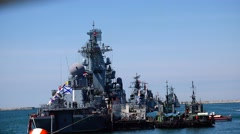 Travel past the squadron of the Russian fleet. Sevastopol Crimea. Stock Footage