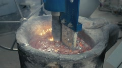 Pouring of liquid metal in open hearth workshop, melted aluminum Stock Footage