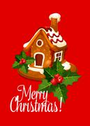 Christmas card with gingerbread house Piirros