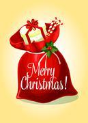 Christmas greeting card with santas gift bag Piirros