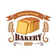 Bakery shop emblem with wheat bread brick Piirros