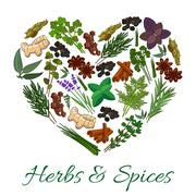 Herbs and spices icons in heart shape emblem Stock Illustration