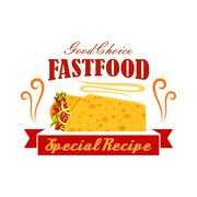 Fast food vegetable and meat burrito roll emblem Stock Illustration