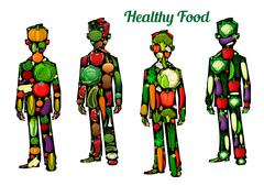 Healthy food nutrition. Human body icons Stock Illustration