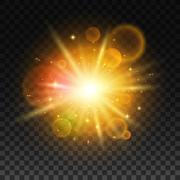 Luminous bright light flash with lens flare Stock Illustration