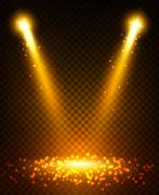 Gold spot light beams on stage Stock Illustration
