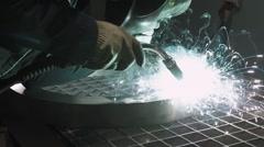 Welder Industrial automotive part in factory, hot metal welding on modern Stock Footage