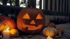 Steam Pours Out of a Lit Halloween Jack O'Lantern Stock Footage