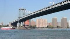 Manhattan Bridge, New York City, view from Dumbo Stock Footage