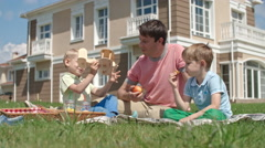 Father and Kids on a Picnic Stock Footage