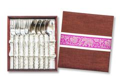 Display of silverware, Silver forks and spoons in box for collection Stock Photos