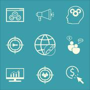 Set Of Marketing Icons On Media Campaign, Connectivity And Website Performanc Piirros