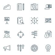 Set Of Project Management Icons On Money, Discussion And Innovation Topics. E Stock Illustration