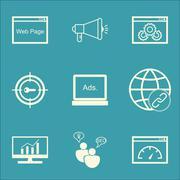 Set Of Marketing Icons On Keyword Marketing, Digital Media And Connectivity T Piirros