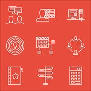 Set Of Project Management Icons On Warranty, Computer And Opportunity Topics. Stock Illustration