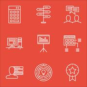 Set Of Project Management Icons On Discussion, Innovation And Presentation To Stock Illustration