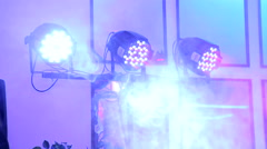 Lighting equipment for disco. Lighting show. LED lamps in a banquet hall. Stock Footage