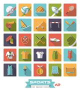 Sports square color icons vector set  Piirros