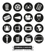 Movie and cinema round solid icons vector set. Piirros