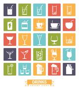 Drinks and beverages square color icons vector set. Piirros