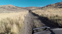 Sport recreation vehicle 4x4 off road mountain trail POV HD Stock Footage