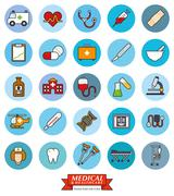 Medical and Health Care Round Vector Icon Set Stock Illustration
