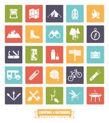 Camping and Outdoor Pursuits Square Icon Set Stock Illustration