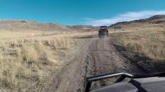 Desert mountain trail sport recreation vehicle following POV fast HD Stock Footage