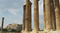 Gimbal reveal of the acropolis at the temple of zeus athens, greece Stock Footage