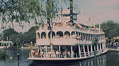 Disneyland 1977: Mark Twain riverboat Stock Footage