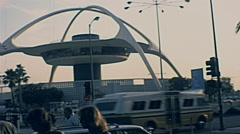 Los Angeles 1977: people in front of the airport Stock Footage