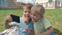 Funny Kids Taking Selfie Stock Footage