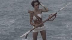 Beautiful amazon woman warrior Stock Footage