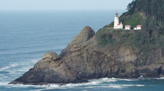 Heceta Head Oregon Coast Lighthouse Nautical Beacon USA Stock Footage
