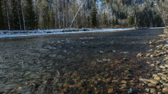 "The mountain river of ""Verhnjaja Ters"", the south of Western Siberia Stock Footage"