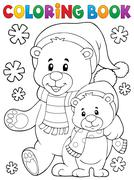 Coloring book winter bears theme Piirros