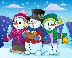 Snowmen carol singers theme image Stock Illustration