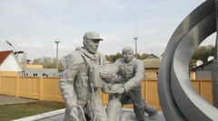 Self built monument to firefighters and liquidators at Chernobyl - distaster Stock Footage