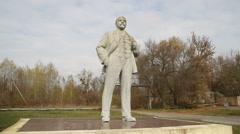 Statue of Vladimir Lenin in deserted Chernobyl town Stock Footage