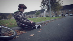 4k Sport Outdoor Child with Bicycle Working on Tablet Stock Footage
