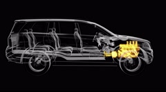 Loop car rotate. visible engine and gear transmission Stock Footage