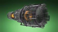 Rotate jet engine turbine of plane, aircraft concept, aviation and aerospace Stock Footage